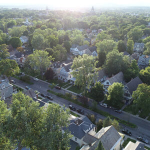 overhead view of neighborhood in schenectady
