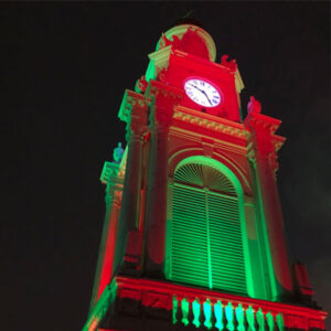 steeple in red and green